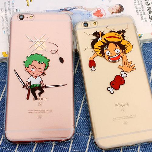 เคสยาง ใส กันกระแทก 1.8mm. - ลาย One Piece (หัวโต) ลูฟี่ / โซโร - เคส iPhone 5 / 5S / SE