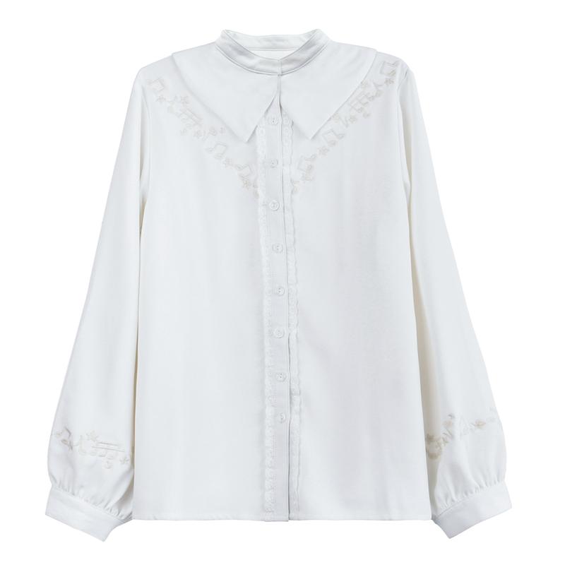 Pre-Order เสื้อชีฟองสีขาว คอปกทรงแฉก ปักลายโน้ตดนตรี