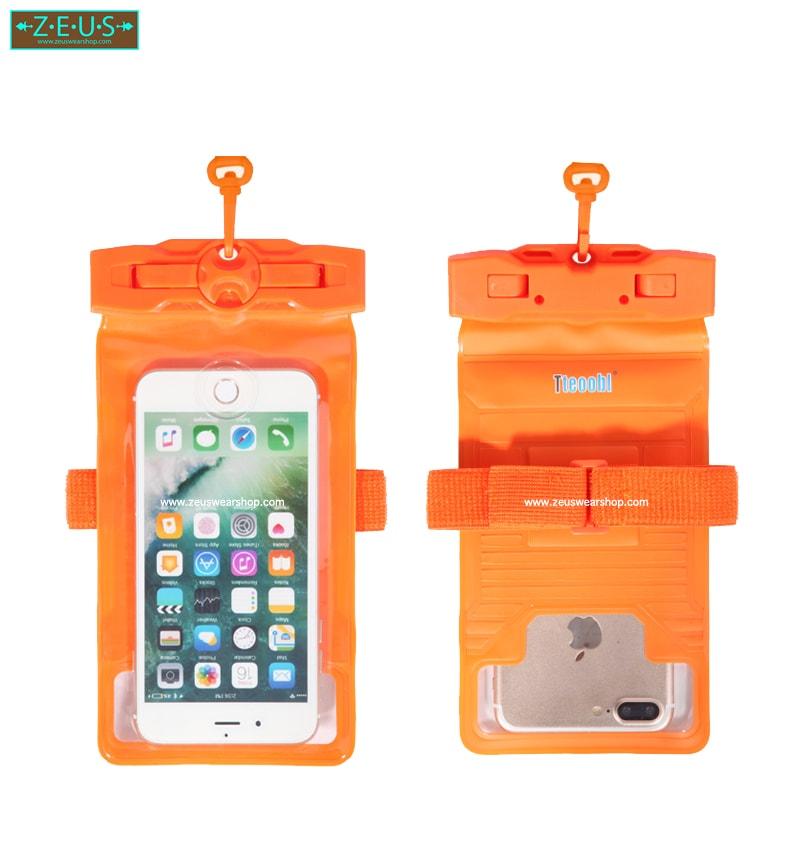 ซองกันน้ำ ดำน้ำ ใส่โทรศัพท์ สีส้ม ถ่ายภาพใต้น้ำ กันน้ำลึก 30m