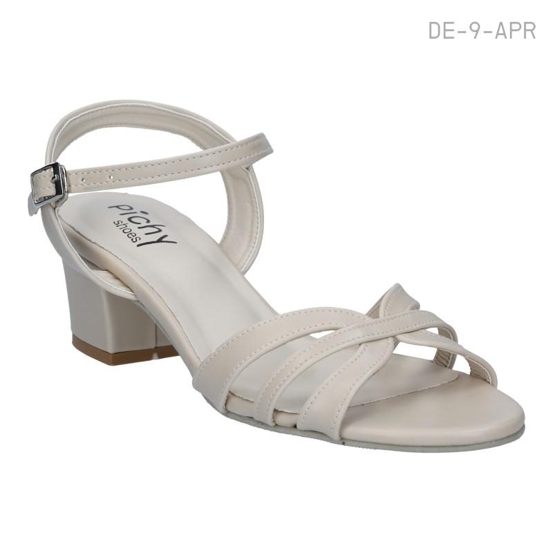 รองเท้าส้นเตี้ย รัดข้อเท้า ส้นบล็อค (สีแอปริคอท )