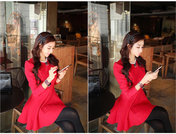 ชุดเดรสทำงานแฟชั่นเกาหลีสีแดงแขนยาวเข้ารูป