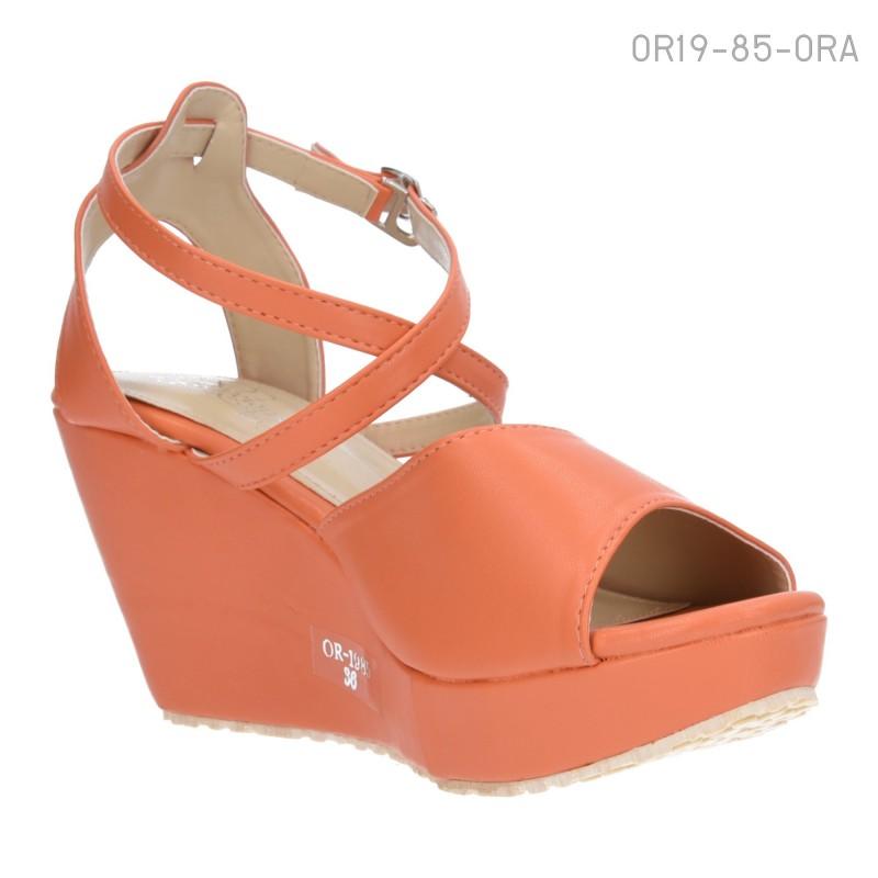รองเท้าส้นเตารีดแบบรัดส้น ทรงPeep-Toe (สีส้ม )