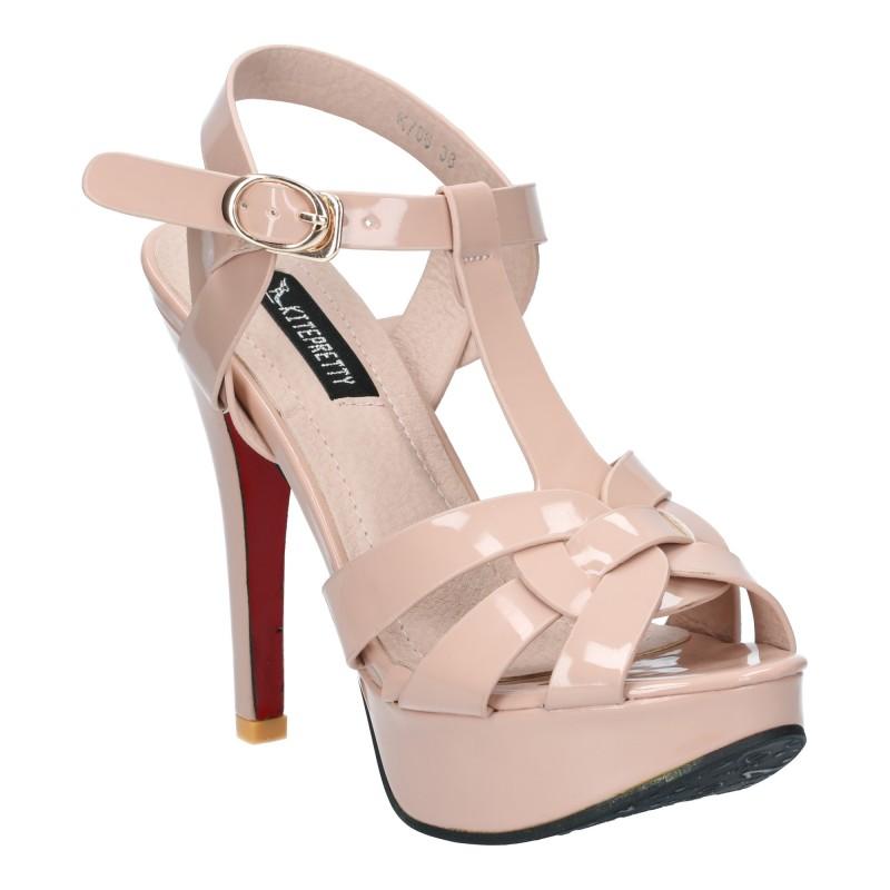 รองเท้าส้นสูง รัดข้อเท้า เปิดส้น ใส่แล้วดูแพง (สีชมพู )