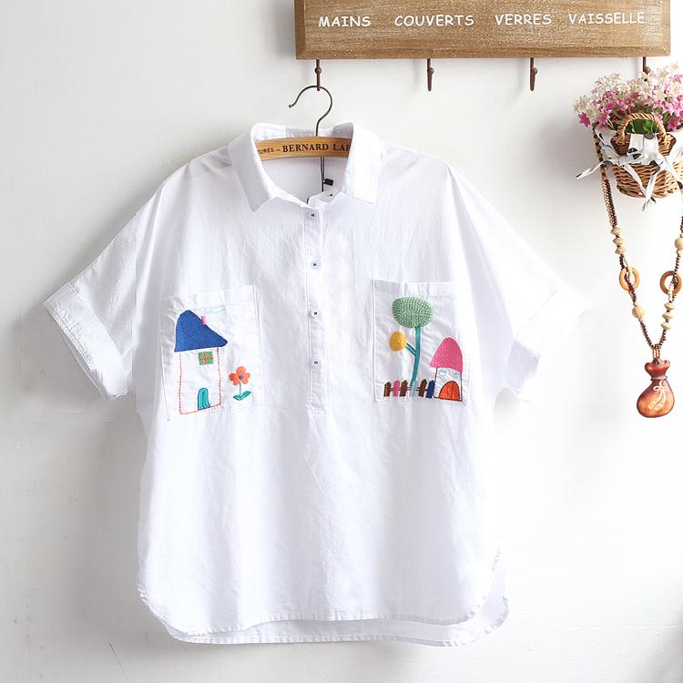 Pre-Order เสื้อเชิ้ตแขนสั้นปักลายสไตล์ภาพวาดเด็กน้อย มี2สี