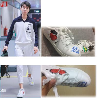 รองเท้าผ้าใบสีขาว TFBOYS แต่งรูปหัวใจ