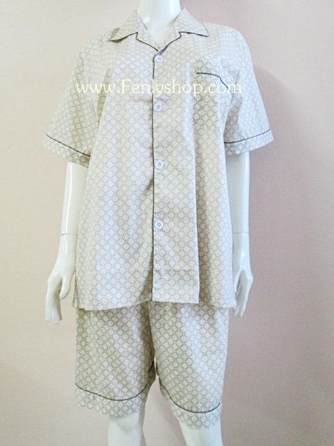 ชุดนอน(ช)กางเกงขาสั้น ผ้า Cotton เกรด เอ แบบลายสีเหลือง คอปก ฟรีไซส์ (F)