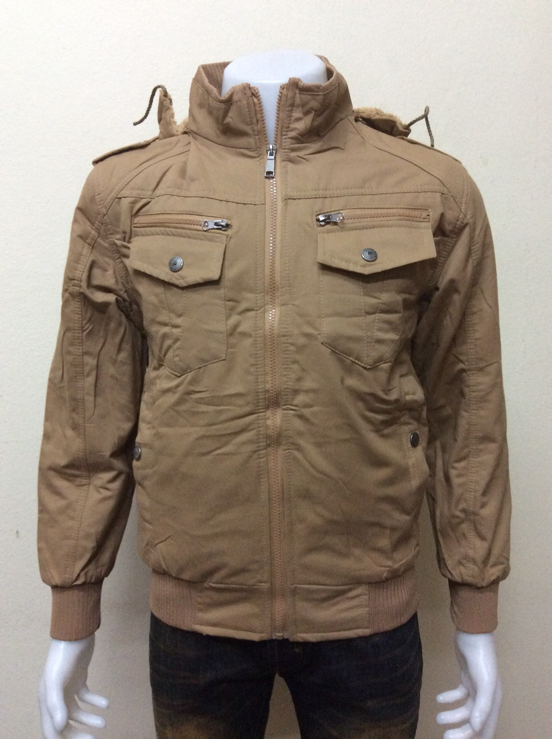 เสื้อแจ็คเก็ตกันหนาว มีฮู้ด สีน้ำตาลอ่อน