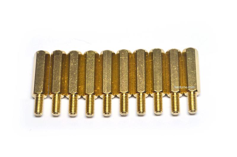 น๊อตทองเหลือง M3x15+6mm (10 ชิ้น)