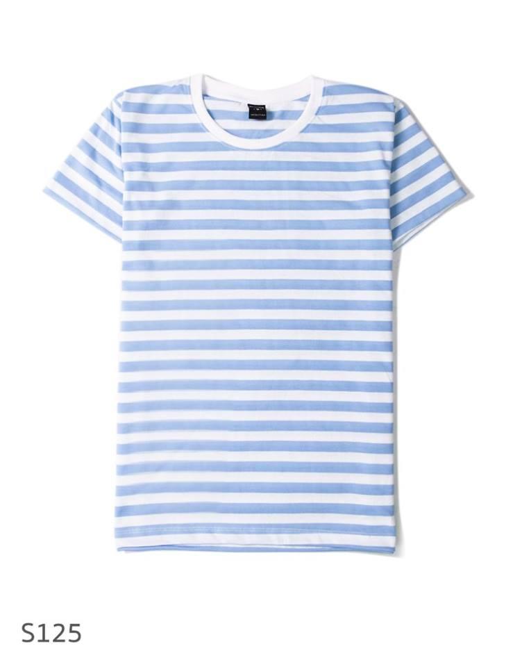 เสื้อยืดคอกลมลายทาง S125 (ครึ่งนิ้ว สีสกาย ฟ้าขาว)
