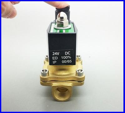 """โซลินอยด์วาล์ว โซลินอยวาวล์ ปิดเปิดน้ำ อากาศ แก๊ซ น้ำมัน วัสดุทองเหลือง Electric Solenoid Valve 24VDC ขนาดG1/2""""(ขนาด4หุน) ป้องกันน้ำได้"""