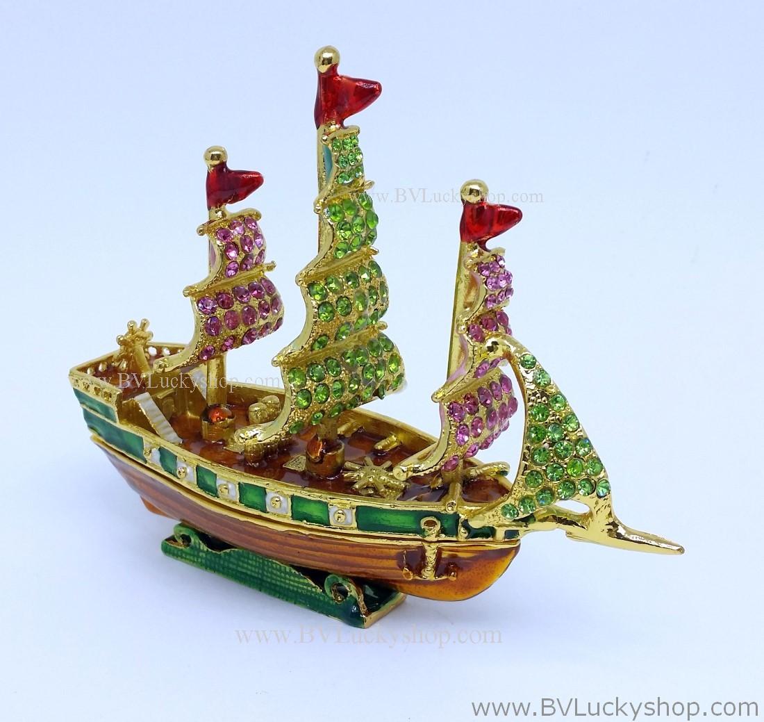 เรือใบ โลหะ ประดับด้วยเพชรคริสตัล [704B] ลำใหญ่