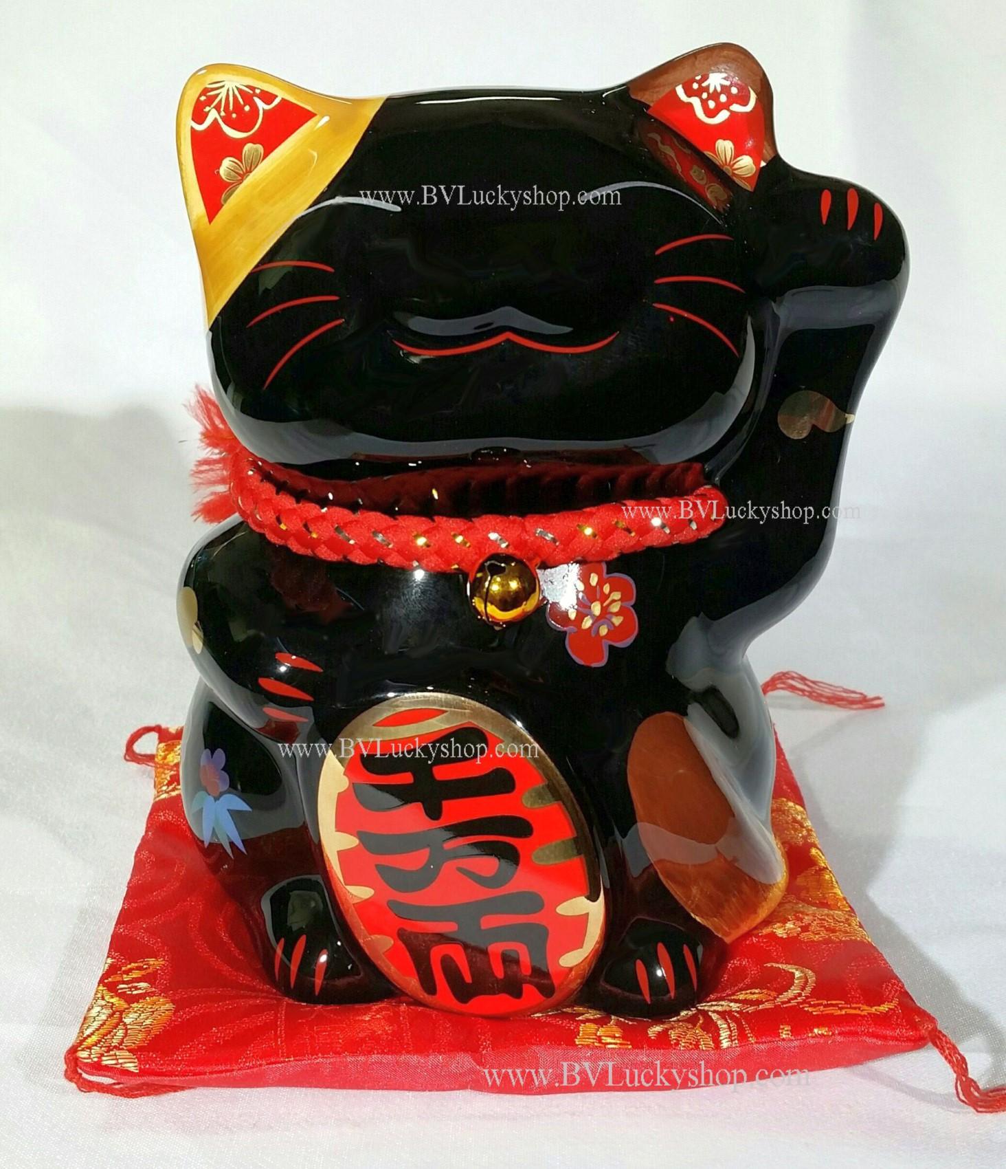 แมวกวัก แมวนำโชค สูง 6 นิ้ว ถือเหรียญทอง (หนัก10ล้านชั่ง) - สีดำ [35586]