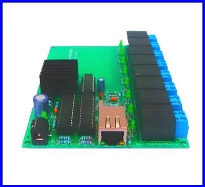 บอร์ดควบคุม บอร์ดควบคุมผ่านเน็ตเวิร์ค อุปกรณ์ควบคุมผ่านระบบเน็ตเวิร์ค Net Control Boards รุ่น NC-800 สวิตซ์อิเลคทรอนิค 8 ช่อง