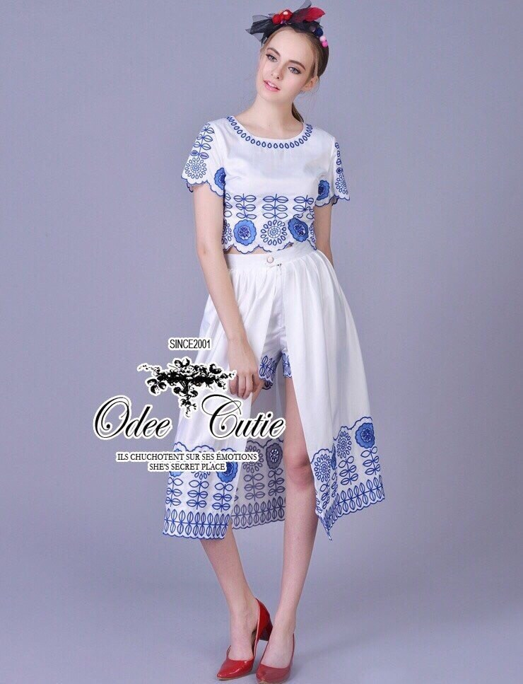 D&G style blue embroidered top and skirt set