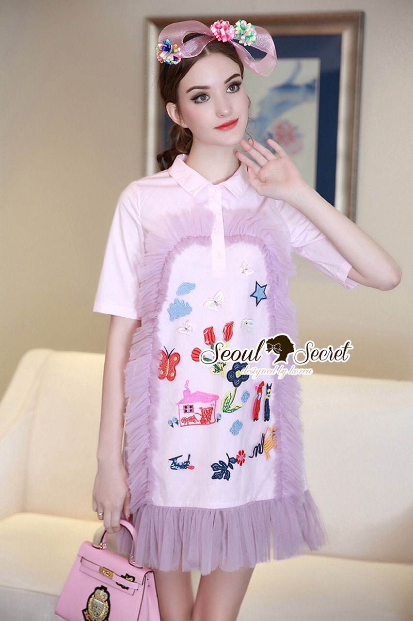 Tassel Netty Furnish Pastel Pink Collar Dress