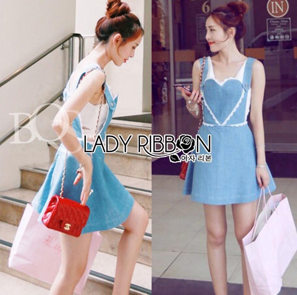 Lindsay Heart-Shaped Overall Denim Dress