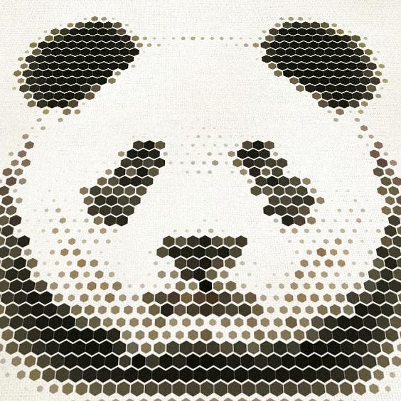 กรอบลอยผ้าแคนวาส ภาพหมีแพนด้าอาร์ต
