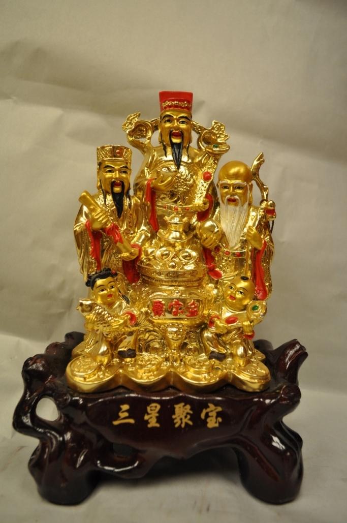 ฮก ลก ซิ่ว กระถางทองไม้ฐานวาสนา