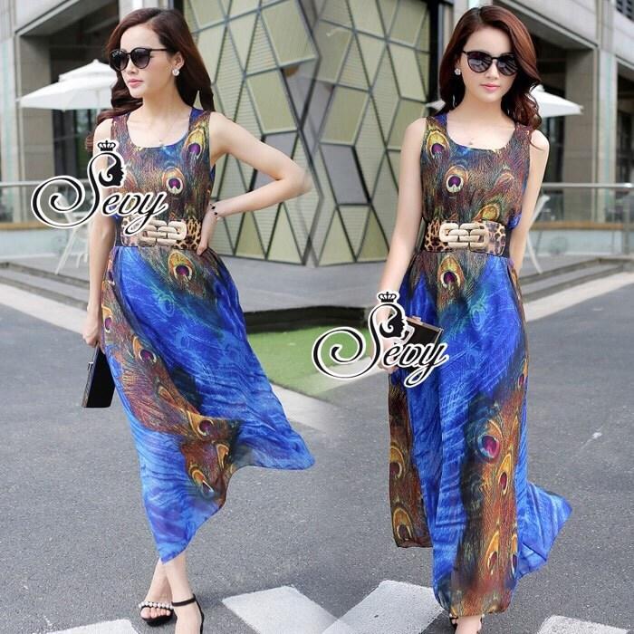 Peacock Graphic Sleeveless Midi Dress (Belt)