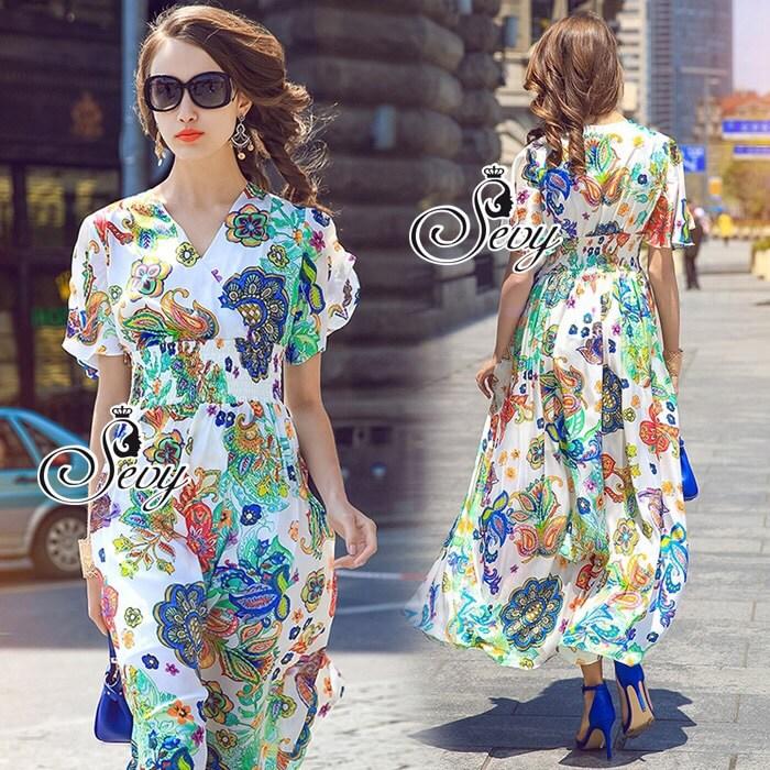 Bohemian Colorful Party V-Neck Wind Sleeve Midi Dress