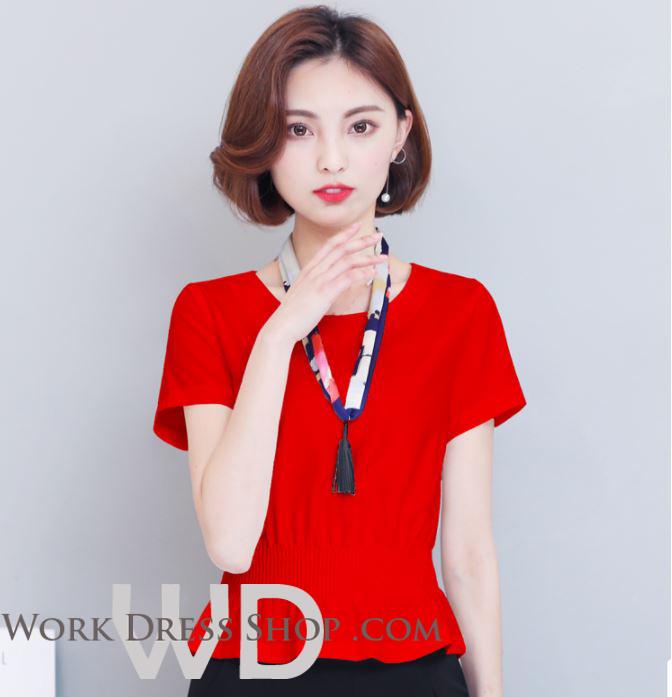 Preorder เสื้อทำงาน สีแดง คอกลม แขนสั้น จั้มเอวเน้นสัดส่วนสวยเก๋สุดๆ ผ้าซีฟอง เนื้อผ้าระบายอากาศได้ดี