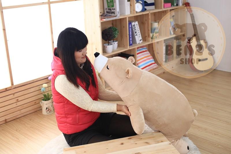 ตุ๊กตาหมีขั้วโลก รุ่นเม็ดโฟม ขนาดวัดจากจมูก-ขาหลัง80cm