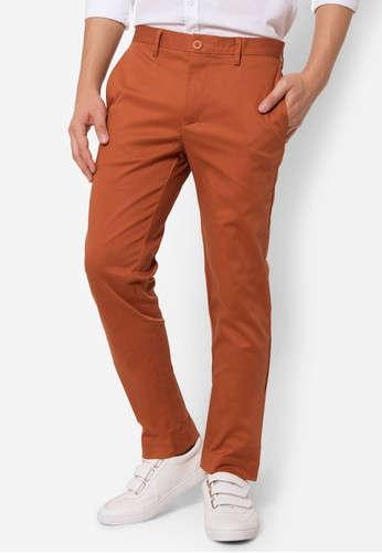 กางเกงขายาว Chino slim สีส้มอิฐ
