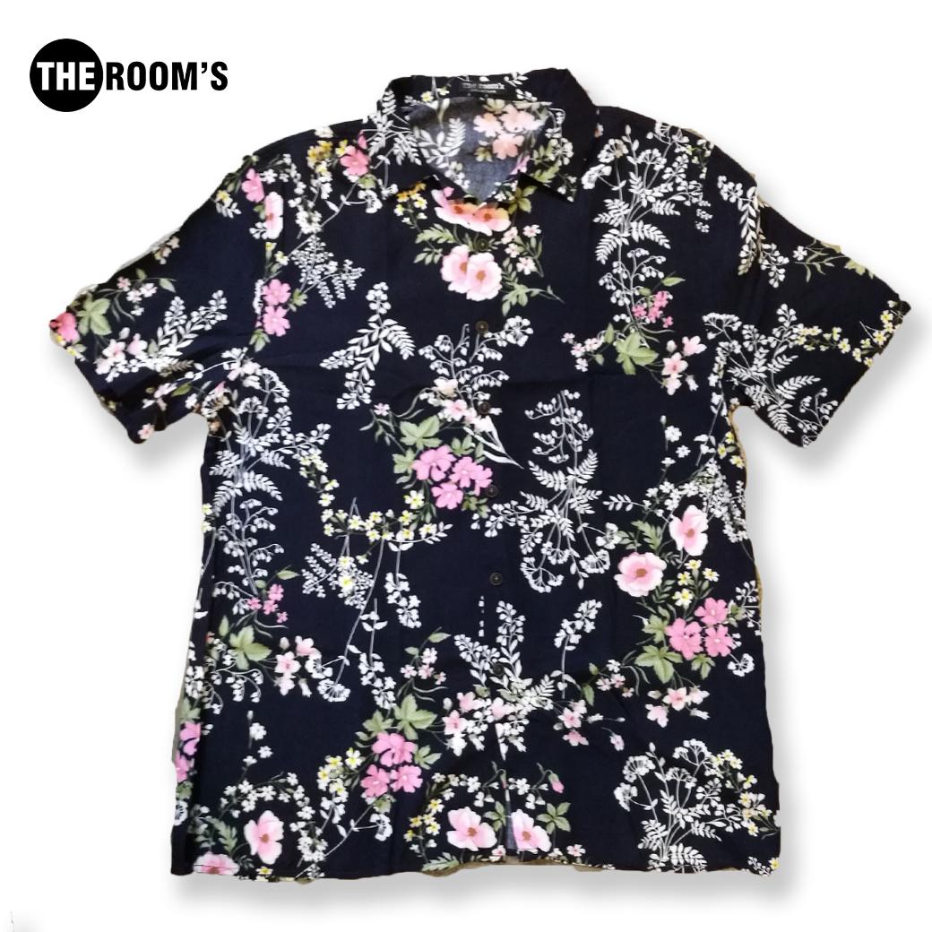 เสื้อเชิ๊ตฮาวาย สีกรมลายดอกคลาสิค