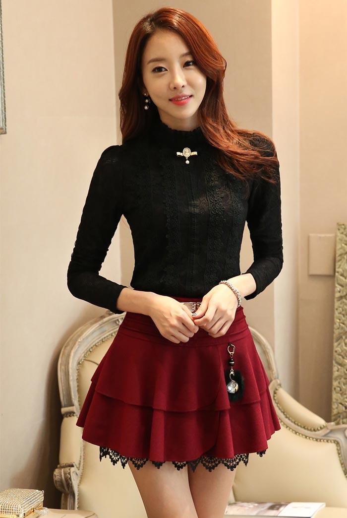 เสื้อลูกไม้สวยๆ แฟชั่นฝรั่งเศสหรู สีดำ แขนยาว เสื้อลายลูกไม้ใส่ออกงาน