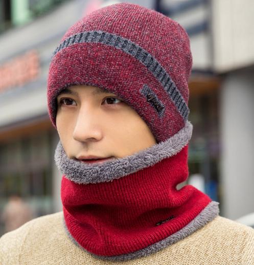 High quality winter wool hat หมวกไหมพรหมพร้อมผ้าพันคอ (สีแดง)