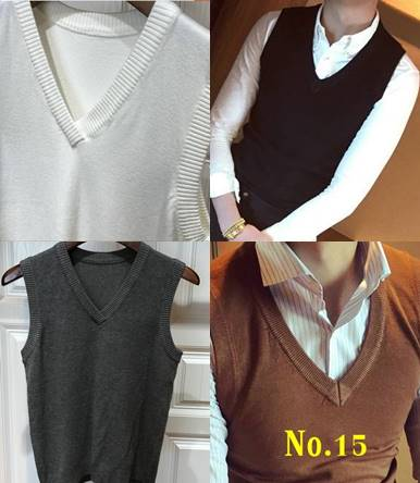 เสื้อกั๊กไหมพรมผู้ชาย สไตล์อังกฤษ สีล้วน คอวีV กว้าง Size No.34 36-38-40-41 หลากสี ดำ ขาว เทา น้ำเงิน กากี