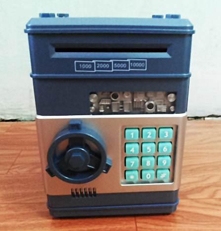 ตู้เซฟออมสิน ดูดเงินอัตโนมัติ FEED แบงค์ได้ สีน้ำเงิน
