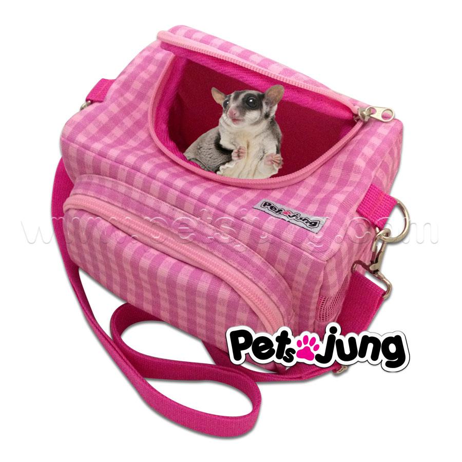 PJ-BAG001-PSC PetsJunG - Travel Pet Bags กระเป๋าสัตว์เลี้ยง ลายสก๊อตสีชมพู