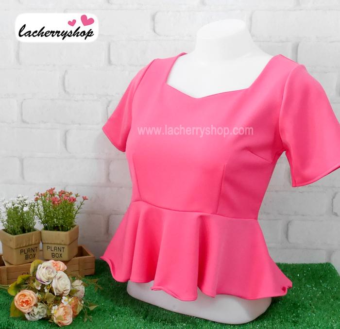 เสื้อแฟชั่น เสื้อทำงาน ผ้าฮานาโกะ สีชมพูเข้ม ดีไซน์สวยเรียบหรู สินค้าคุณภาพ ราคาไม่แพง