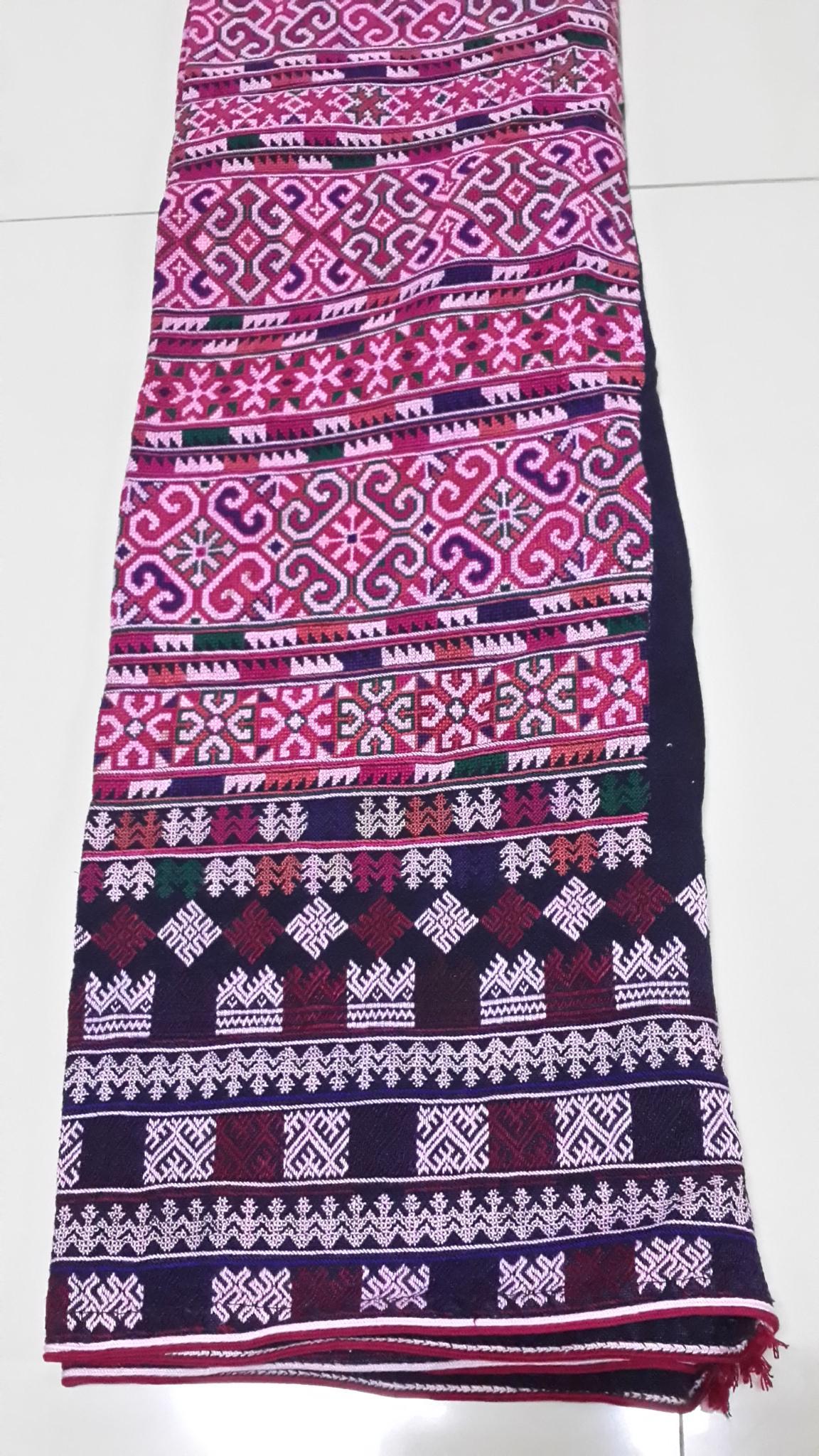 กางเกงผ้าปักมือโทนสีชมพู ลายโบราญ+ประยุกต์