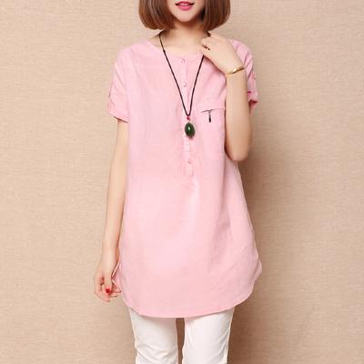 เสื้อแขนสั้นแฟชั่นเกาหลี ผ้าฝ้าย ทรงยาว ตัวเสื้อทรงปล่อย สีชมพูอ่อน