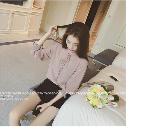 เสื้อทำงานแฟชั่นเกาหลี แต่งคอจีนแบบผูก แขนตุ๊กตา 3 ส่วน สีเบจอมเทา