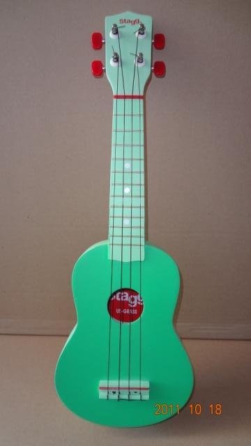 """อูคูเลเล่ Ukulele Stagg (Belgium) US Color Lemon Green Basswood สาย GHS ไซส์ Soprano 21"""" แถมกระเป๋า"""