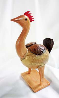 ออมสินกะลามะพร้าวรูปแม่ไก่ Coconut Shell Savings Chicken