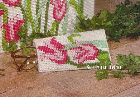 ชุดปักแผ่นเฟรมที่ใส่ดินสอลายดอกทิวลิป