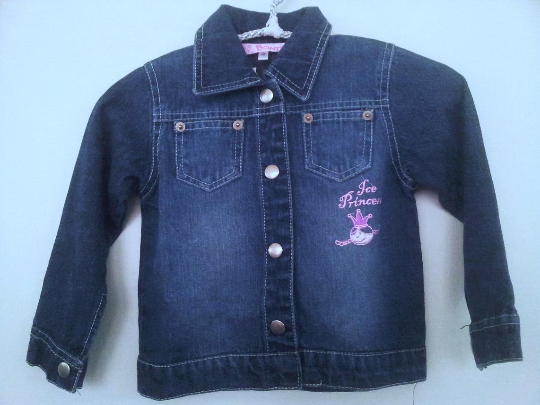 BON099 Bonita เสื้อกันหนาวเด็กหญิง เสื้อแจ็คเก็ตยีนส์ ปักแปะ ICE PRINCESS Size 2Y