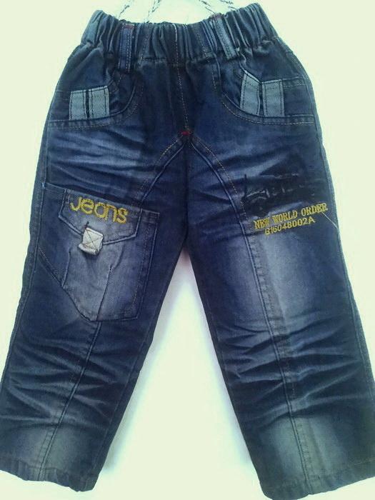 J1055 กางเกงยีนส์เด็กชาย ดีไซส์ลายปักเท่ห์ทั้งด้านหน้า-หลัง เอวยางยืด Size 4-6 ขวบ ขายปลีกในราคาส่งให้เลยจ้า