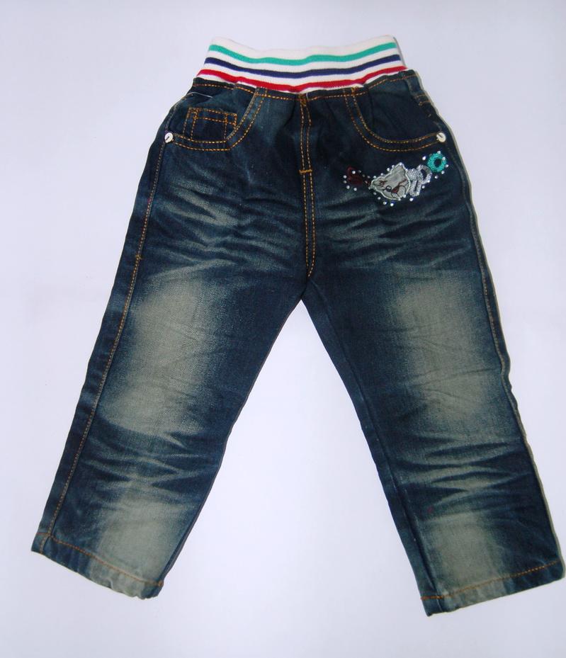 CNJ033 กางเกงยีนส์ เด็กหญิง ขายาว ผ้าฟอกอัดยับ เอวลาย ผ้านิ่มใส่สบาย แต่งลายเก๋ ๆ ปักเลื่อม กระเป๋าหลังสองข้าง Size 15/16/17/18