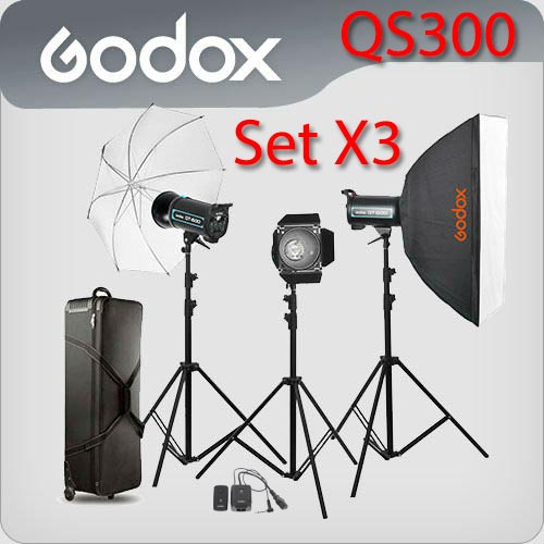 QS300 Set 300W X3 Professional Flash Godox Studio Kit ชุดแฟลชสตูดิโอ