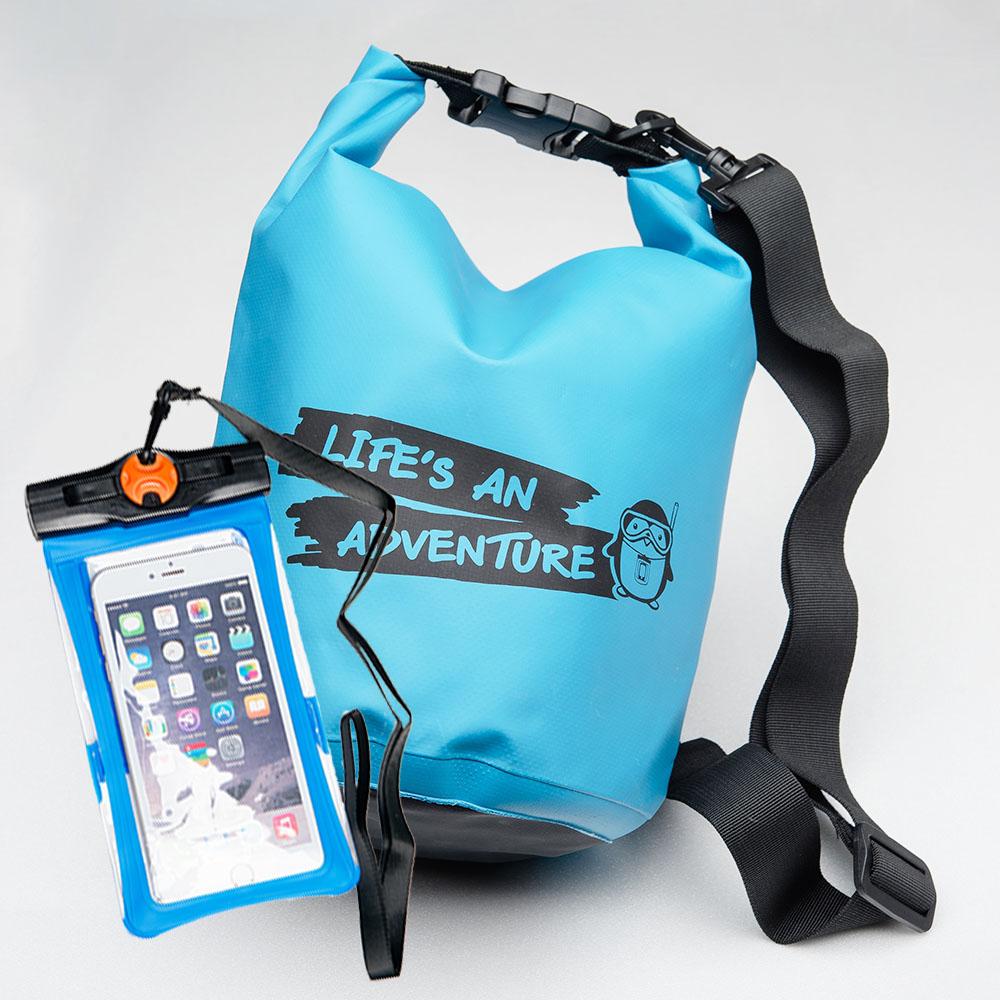 ชุด Set ซองกันน้ำมือถือเล็ก (4.7 นิ้ว) สีฟ้า + กระเป๋ากันน้ำ Penguin Bag ขนาด 5 ลิตร