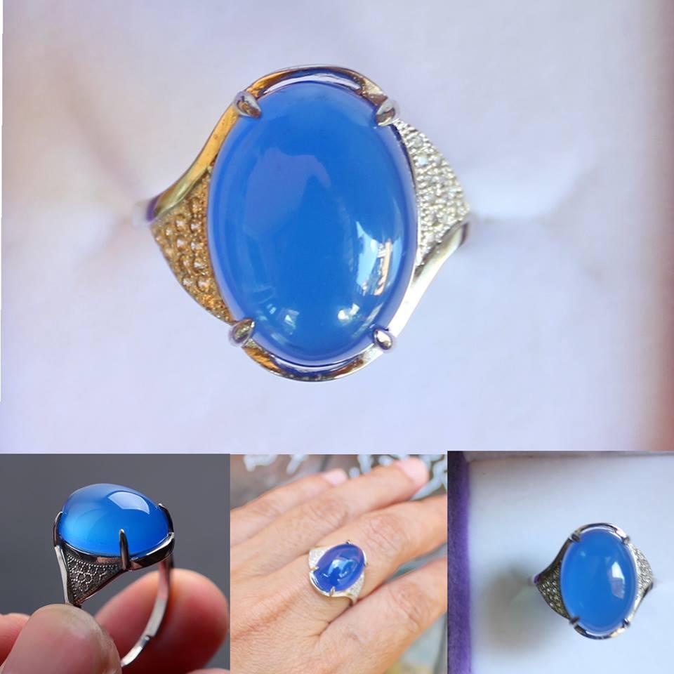 แหวนหินโมรา Chalcedony / Agate หินโมรา อาเกตเนื้อใส สี BLUE SKY