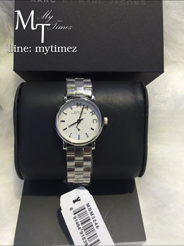 นาฬิกาข้อมือ Marc By Marc Jacobs รุ่น Mini Baker White Dial Silver Ladies Watch MBM3246