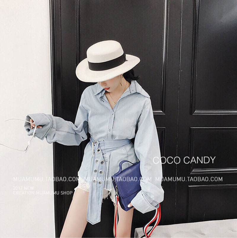 เสื้อยีนส์ Korea washed denim shirt wt belt