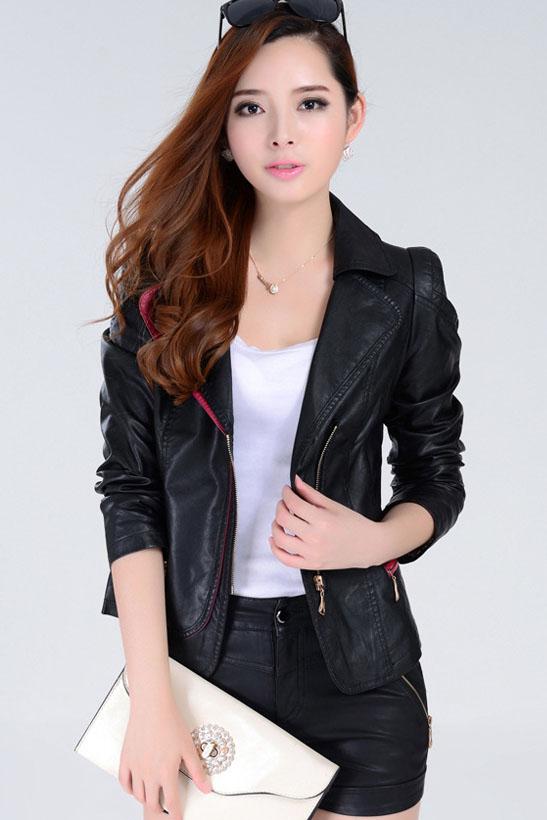 เสื้อแจ็คเก็ต เสื้อหนังแฟชั่น พร้อมส่ง สีดำ คอปกแต่งขลิบสีชมพู เข้ารูป สุดเท่ห์ หนัง PU คุณภาพดี หนังเนื้อนิ่มหน้าใส่