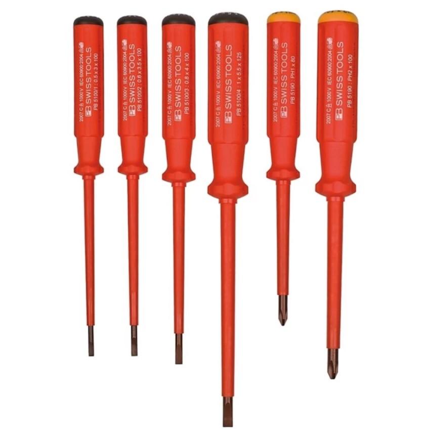ชุดไขควง PB Swiss Tools รุ่น PB 5542 กันไฟ ปากแบน/แฉก (6 ตัว/ชุด)